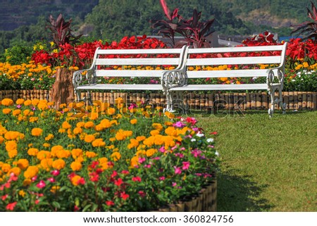 White benches arranged in a flower garden colorful. - stock photo