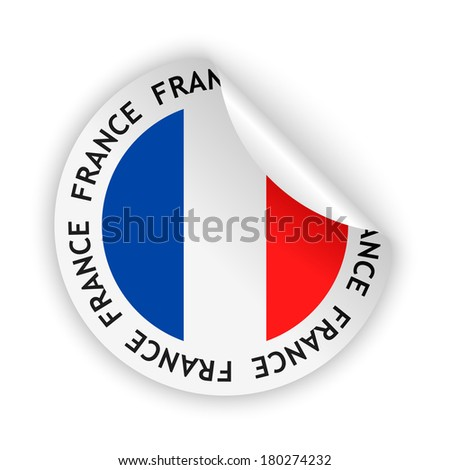 white bent sticker with flag of the france (raster version, available as vector too)