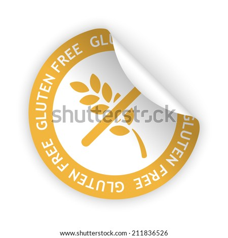 white bent sticker with symbol of gluten free - stock photo