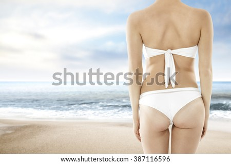 white bikini  - stock photo