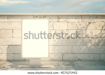 White billboard standing next to concrete brick wall with skyline in the background. Mock up, 3D Rendering - stock photo