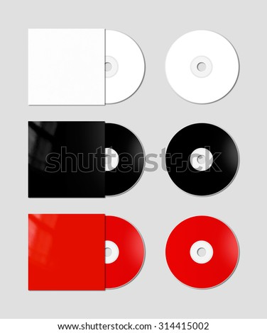 white, black and red CD - DVD and covers isolated on background - mockup template