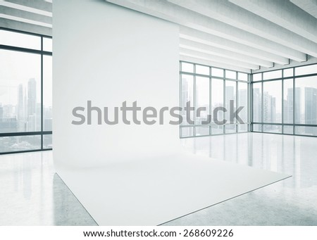 White blank background in the bright office. 3D rendering. - stock photo