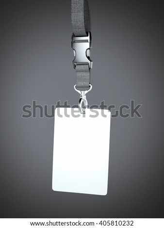 White blank badge with neckband hanging in gray studio. 3d rendering
