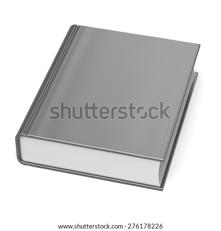 White blank book empty clean bookcase single template brochure grey hard cover textbook cookbook workbook notebook knowledge content information. 3d render isolated - stock photo