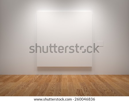 White Blank Canvas In An Exhibition - stock photo