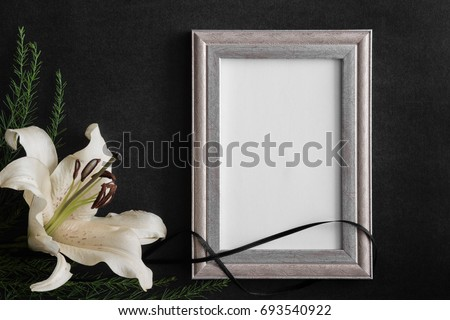 White Blank Condolence Card Frame Lily Stock Photo (Safe to Use ...