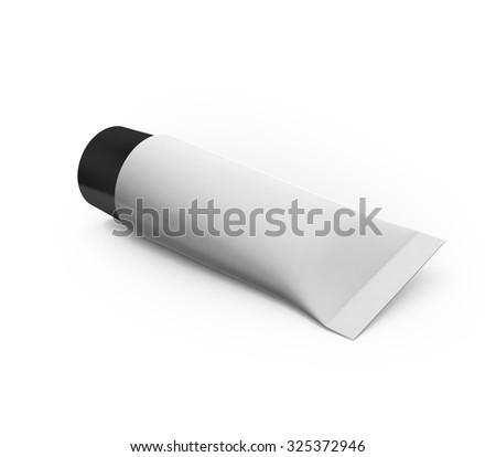 White blank cosmetic tube mock-up with black cap isolated on clean white background