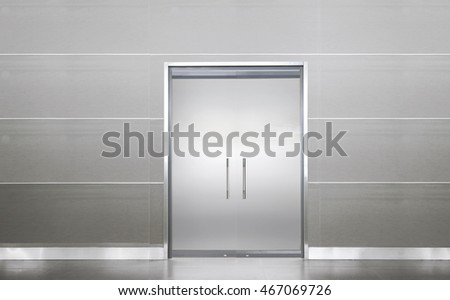 White blank door in empty room, clean floor without nobody else