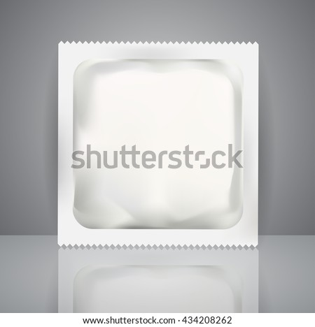 White Blank Foil Pouch Packaging For Medicine Drugs , Coffee, Salt, Sugar, Pepper, Spices, Sachet, Sweets Or Condom. Isolated Mock Up Wrapper Template for Branding. Product Package.