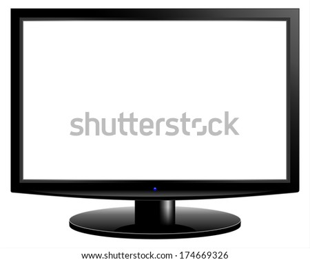 White blank HD tv screen - stock photo