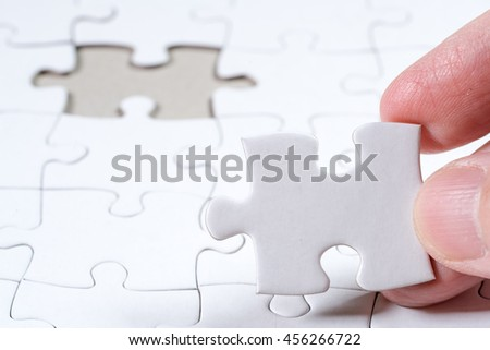White Blank jigsaw puzzle, business concept of Solution with clipping path