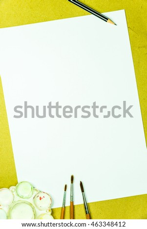 White blank paper copy space and painting tools for background use