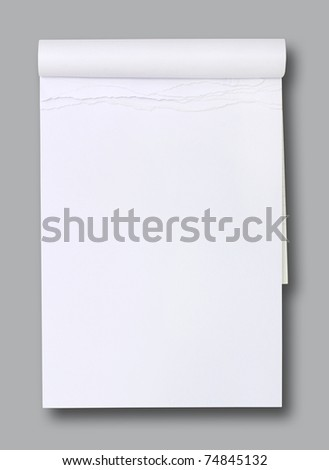 white blank paper tablet on grey background - stock photo