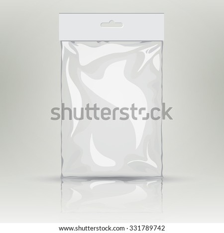 White blank plastic pocket bag.  transparent bag. With Hang Slot.  Mock up template of empty plastic container.  nylon bag illustration - stock photo