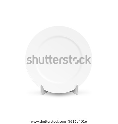 White blank plate mock up holder isolated. Empty dish mockup stand. Clear tableware ready for pattern, texture, art or ornament presentation. Decorative rarity dishes template. Plate frame layout. - stock photo