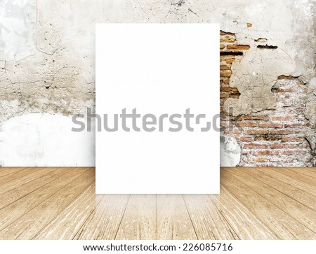 White Blank Poster in crack brick wall and wooden floor room,Template Mock up for your content - stock photo