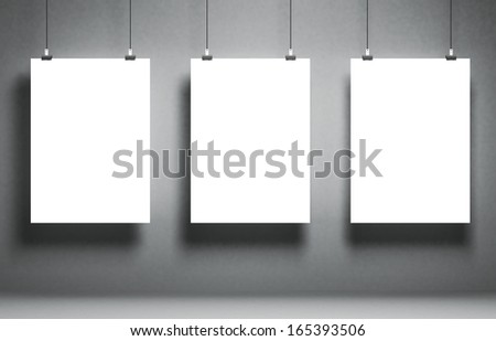 White blank poster on a grunge surface. Template for advertising or other images. 3d illustration - stock photo