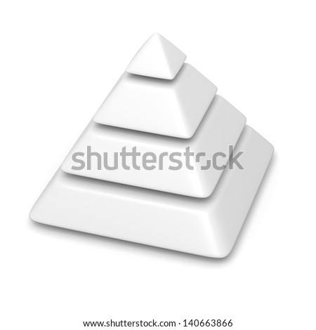 white blank pyramid 4 levels stack chart with shadow 3d illustration