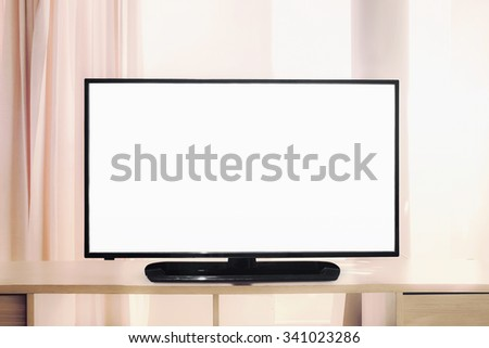white blank screen of television - stock photo