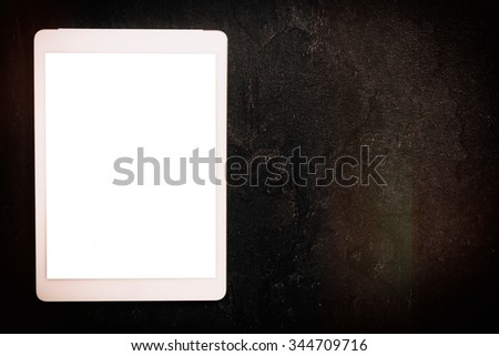 White blank screen on the tablet pc - stock photo