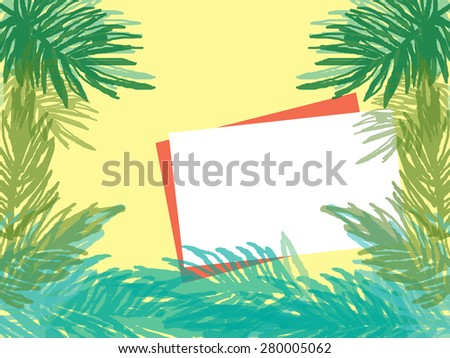 white blank space for note on yellow background with palm tree on border in summer vacation concept - stock photo