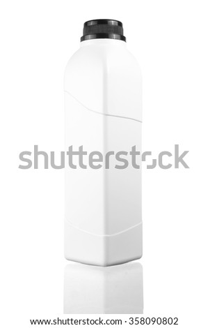 white blank square bottle with copy space area and reflection  isolated on white.