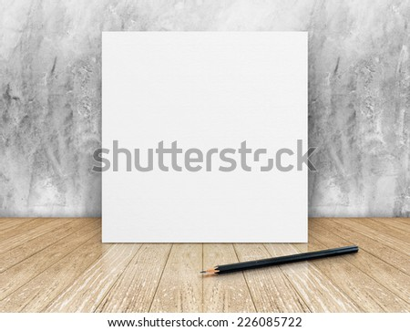 White Blank square Poster with black pencil in concrete wall and wooden floor room,Template Mock up for your content