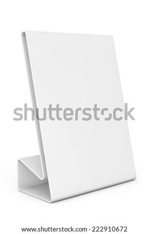 White Blank table plate card on a white background  - stock photo