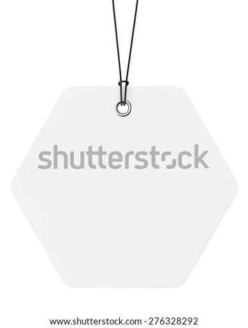 White Blank Tag on a white background - stock photo