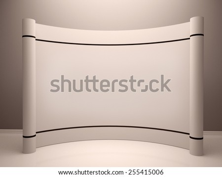 White blank trade show booth in room - stock photo
