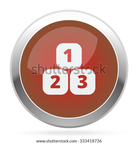 White 123 Blocks icon on red web app button - stock photo