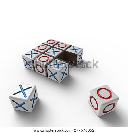 White blocks with red noughts and blue crosses in a black wooden frame on a white background - stock photo
