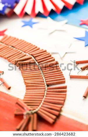 White, blue and red decorations to celebrate July 4th. - stock photo