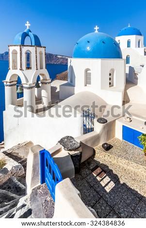 White blue architecture, Oia village, Santorini, Greece - stock photo
