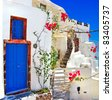 white - blue Santorini - traditional architecture - stock photo