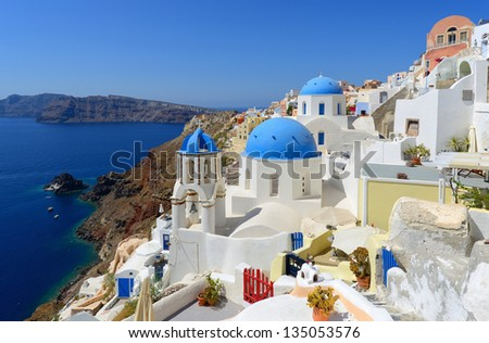 white-blue Santorini - view of caldera with domes  - stock photo