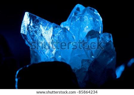 white blue shining rock mountain crystall quarz - stock photo