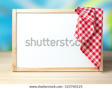 White Board Frame Picnic Cloth On Stock Photo (Download Now ...