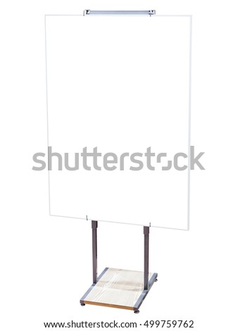 White Board Sign Stand Mock up Blank Information Sign isolated