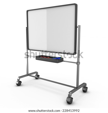 White board with colored markers isolated on white background. 3d render image. - stock photo