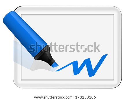 white board with marker - stock photo