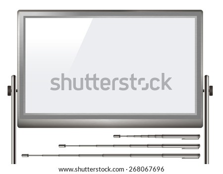 White board with three types of pointer. /You can change the length of the pointer. - stock photo