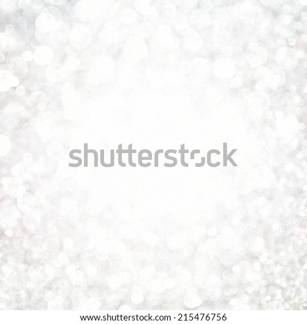 white bokeh lights background. defocused abstract lights. snow or winter concept. - stock photo