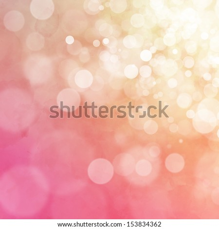 White bokeh on orange and pink watercolor background - stock photo