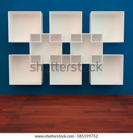 White book Shelf on Blue Background and wooden floor - stock photo