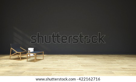 white book ,wood chair and wood table / 3D rendering