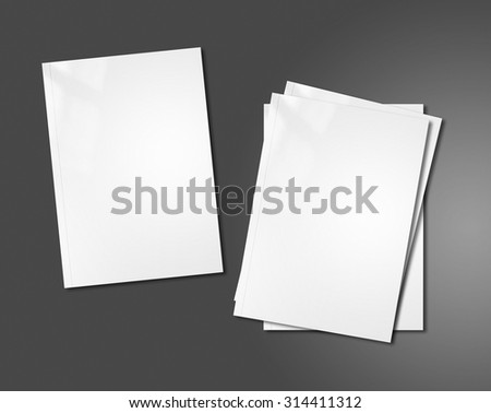 white booklet covers isolated on dark background - mockup template - stock photo