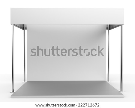 white booth for customizing. View from front - stock photo