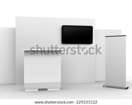 white booth or kiosk with wall and tv dispaly. render - stock photo
